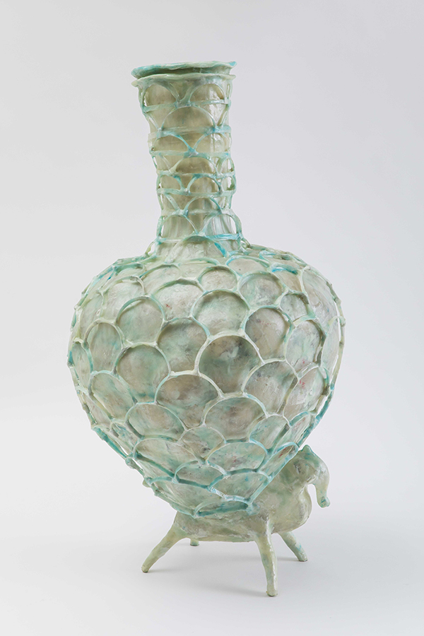 Vessel made from plastic bottles by Shari Mendelson