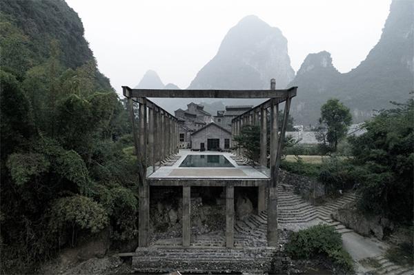 Adaptive reuse luxury pool at Alila Yangshuo hotel