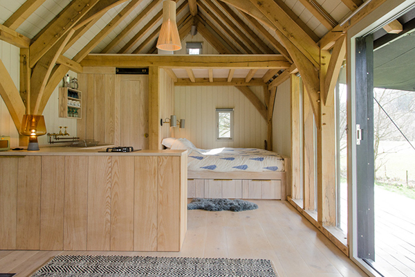 Contemporary wood eco cabin interior