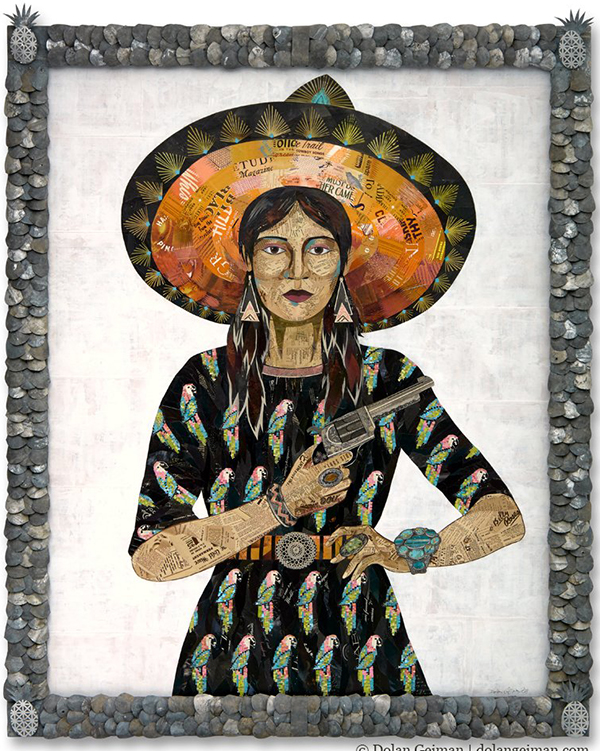Cowgirl collage art portrait by Dolan Geiman