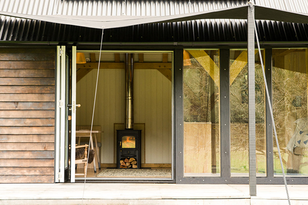 Eco cabin with wood burning stove