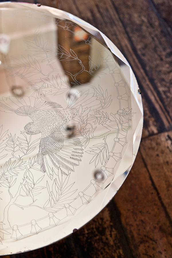 Etched antique mirror table by Daniel Heath