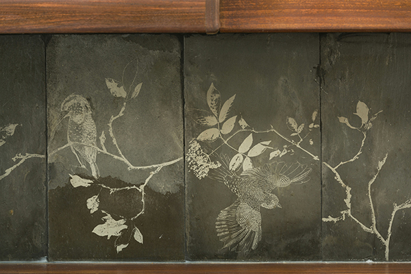 Etched slate tiles by Daniel Heath