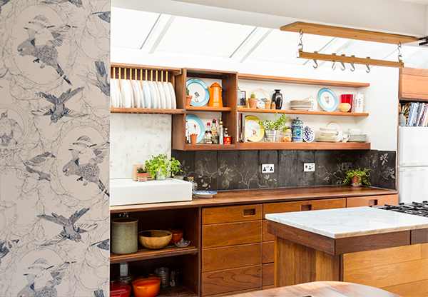 Kitchen with wallpaper and etched slate tiles by Daniel Heath