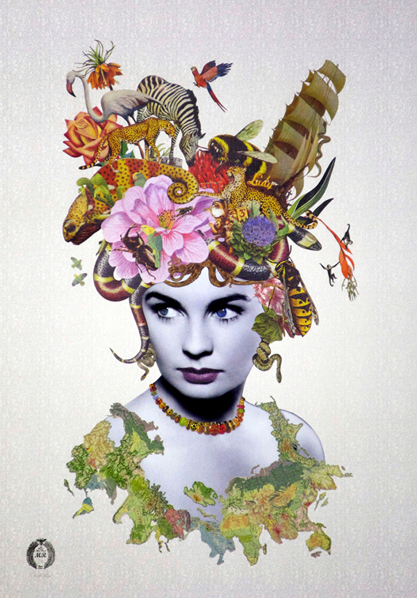 Lady Valentina collage art by Maria Rivans