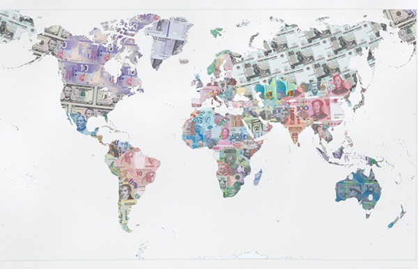Money Map of the World (2013) collage art made from bank notes by Justine Smith