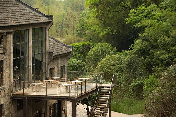 Restaurant terrace at mountain resort Alila Yangshuo