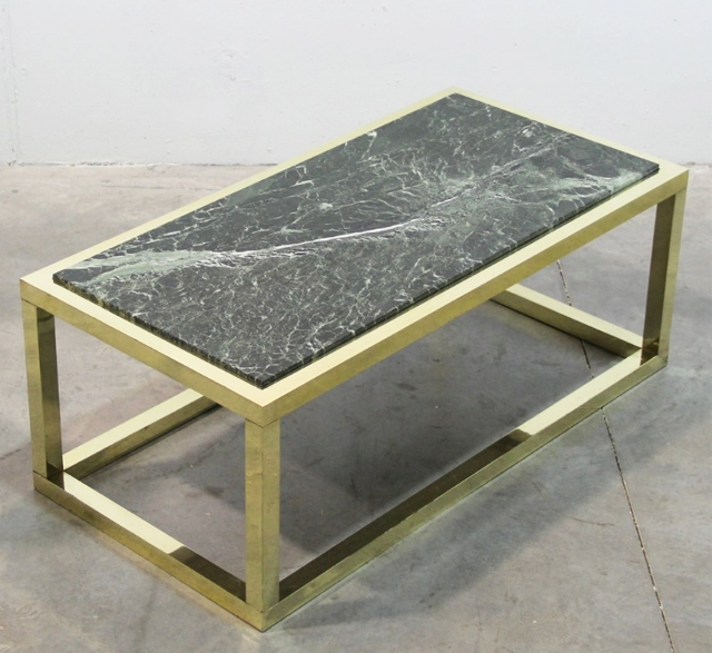 1970s marble and brass vintage coffee table
