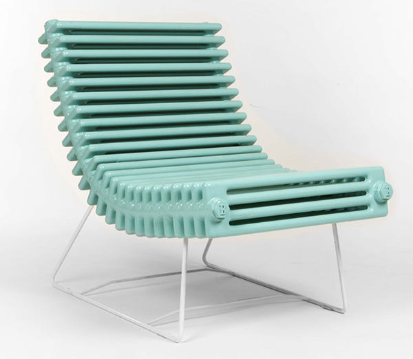 Chair made from a repurposed radiator by Boris Lab