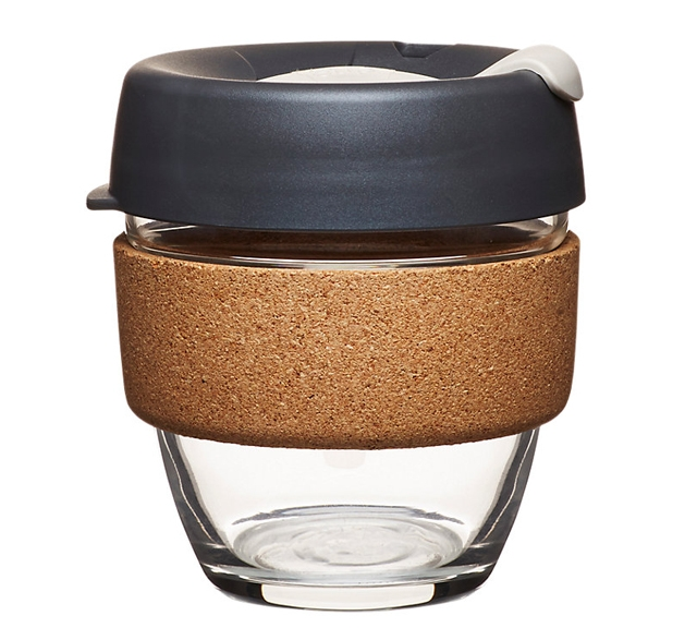 Cork KeepCup with dark grey lid reusable coffee cup