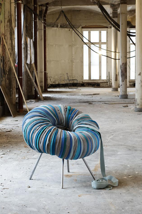 Drops chair made from repurposed materials by Camilla Hounsell Halvorsen