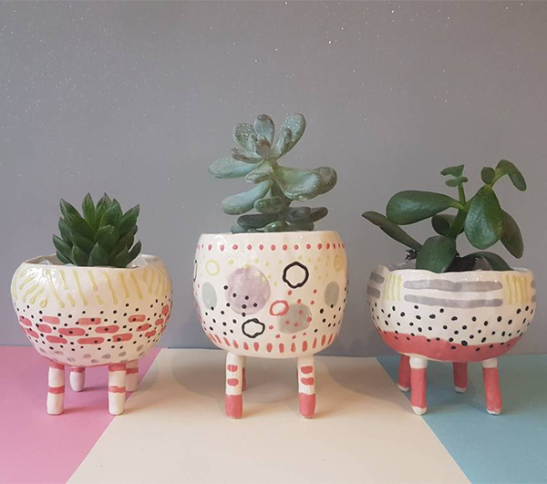 Handmade ceramic planters on legs