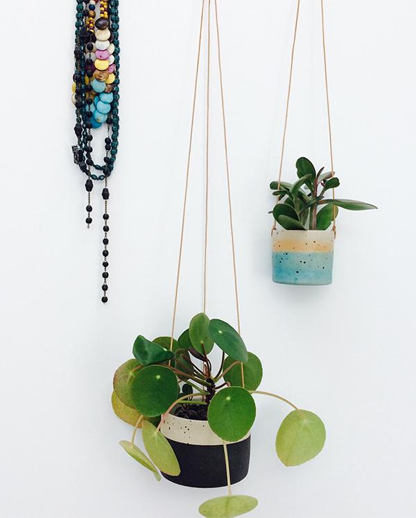 Handmade ceramic stoneware hanging planters