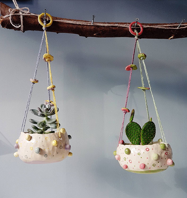 Hanging ceramic pots from The Bobbly Pot Collection