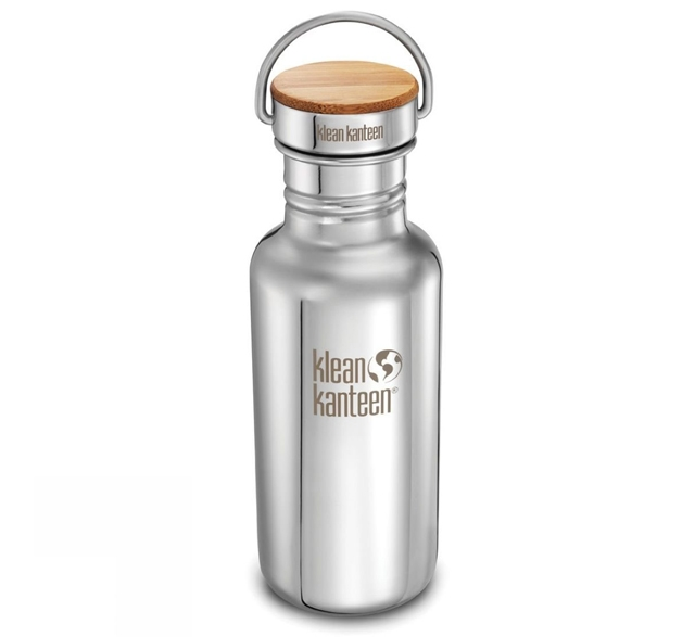 Klean Kanteen stainless steel and bamboo water bottle