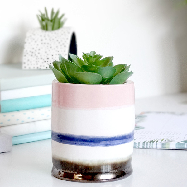 Modern striped handmade ceramic planter