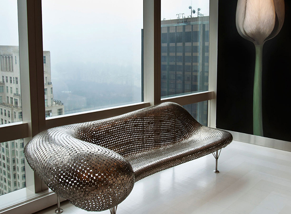 Seat made from metal coins by Johnny Swing