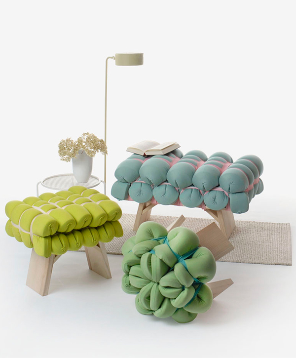 Upholstery made from foam mats by Meike Harde