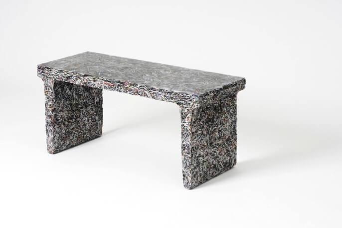 bench made from shredded Elle Decor magazines by Jens Praet
