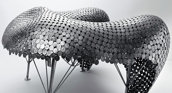 furniture made from welded coins