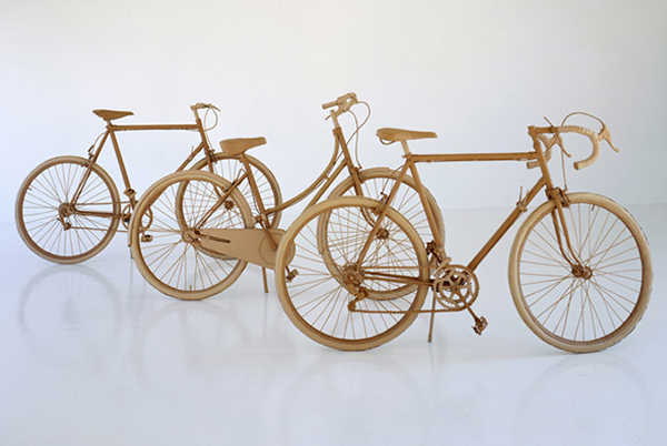 Bicycle crafted in cardboard by Chris Gilmour