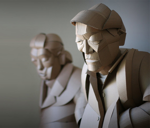 Cardboard figurative sculpture by Warren King