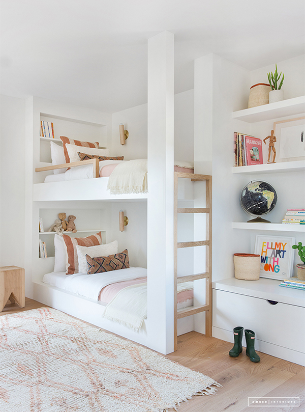 Elegant kids room with bespoke bunk bed