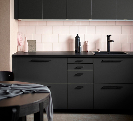 Recycled plastic dark grey kitchen cabinets by IKEA