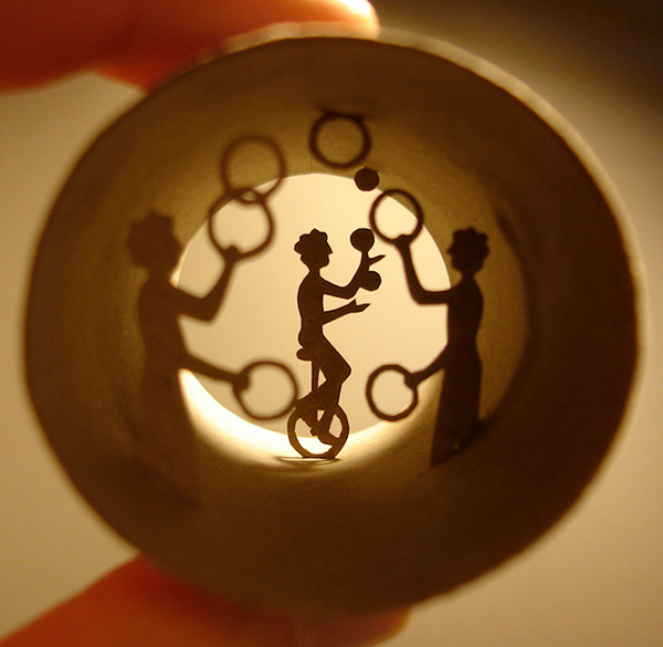 Tiny worlds art inside a cardboard toilet roll by Anastassia Elias