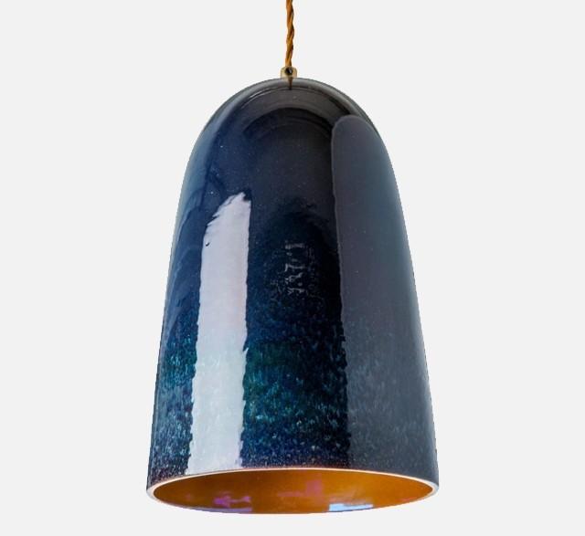 Dark blue iridescent ceramic pendant light