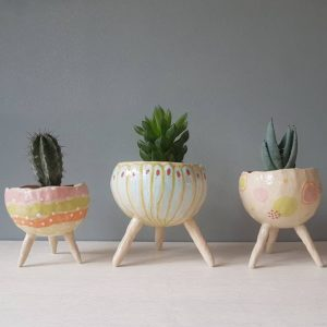 Handmade ceramic plant pots for succulents