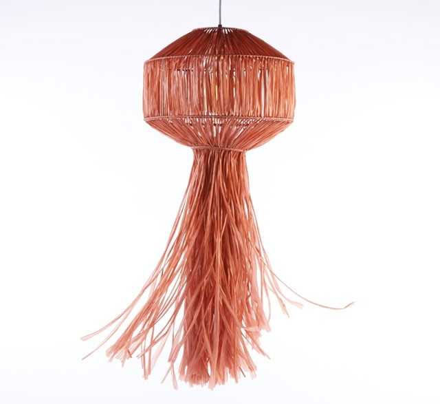 Paper raffia lantern in rust orange