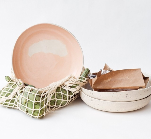 Salmon pink speckled ceramic bowls