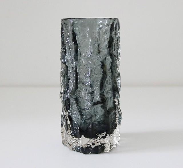 Vintage 1970s grey glass vase by Geoffrey Baxter