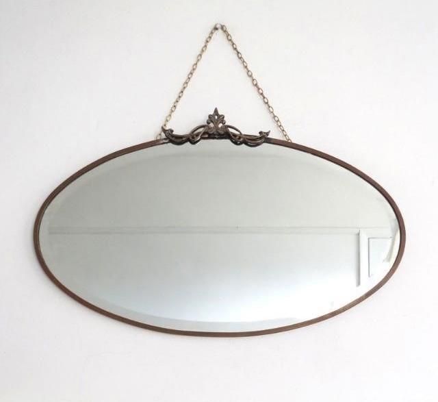 Vintage Art Deco Oval Bevelled Mirror Brass Frame Upcyclist