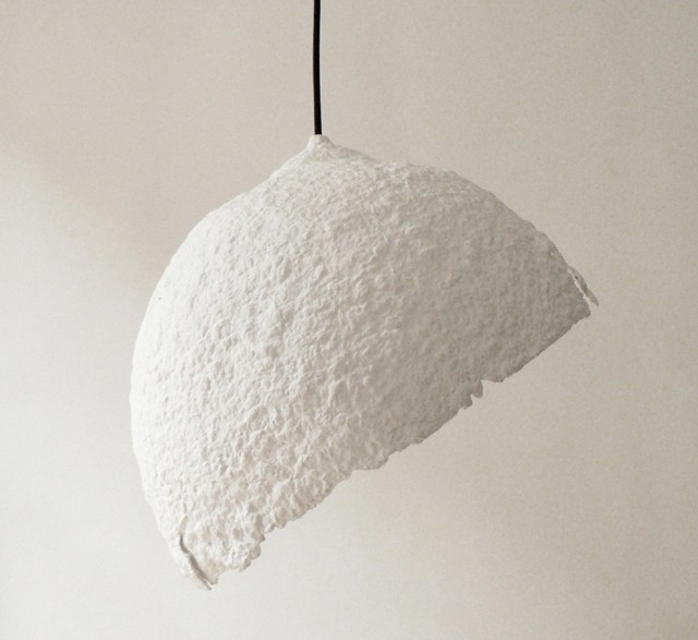 White Globe light made from recycled paper by CreaRe