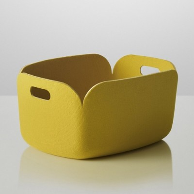 Yellow recycled plastic bottle storage box