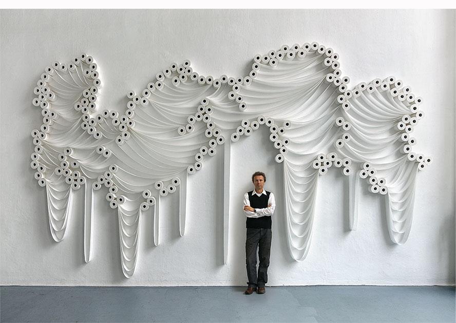 Art installations made from toilet rolls by Sakir Gokcebag