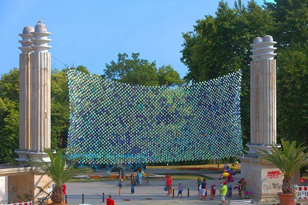 CD tapestry public art installation by Bignatov Studio