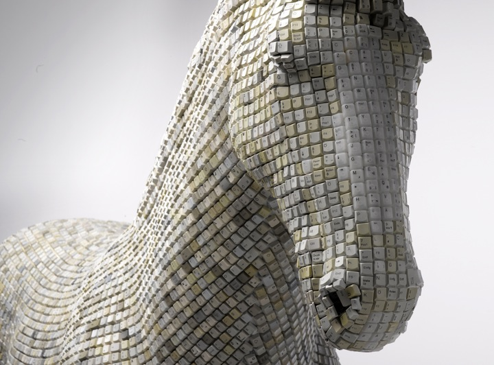 Horse sculpture made from repurposed computer keys