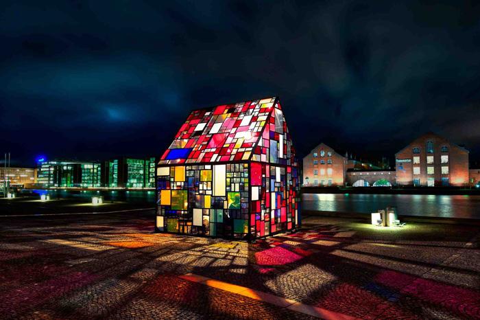 Kolonihavehus reclaimed plexiglass art installation by Tom Fruin