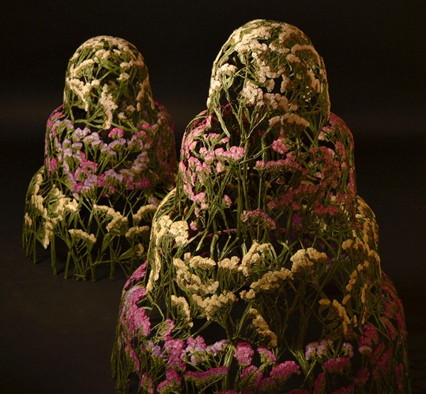 Modern sculpture made from flowers