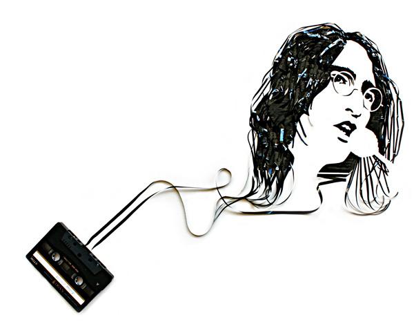 Portrait of John Lennon made from repurposed cassette tape