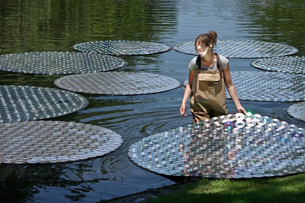 Water Lilies art installation made from CDs by Bruce Munro