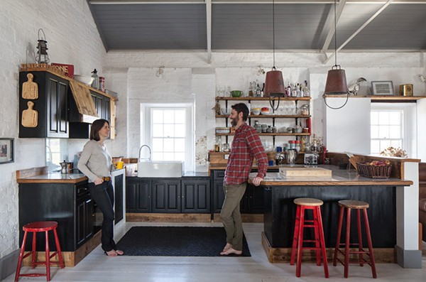 Elvis-and-Kresse-at-home-in-their reclaimed kitchen