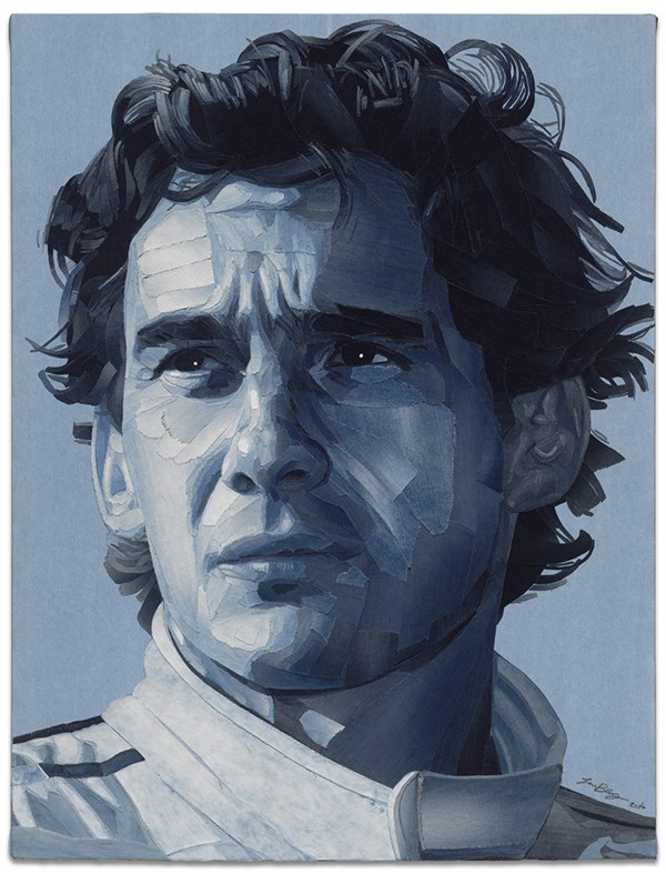 Ayrton Senna portrait in recycled jeans by Ian Berry