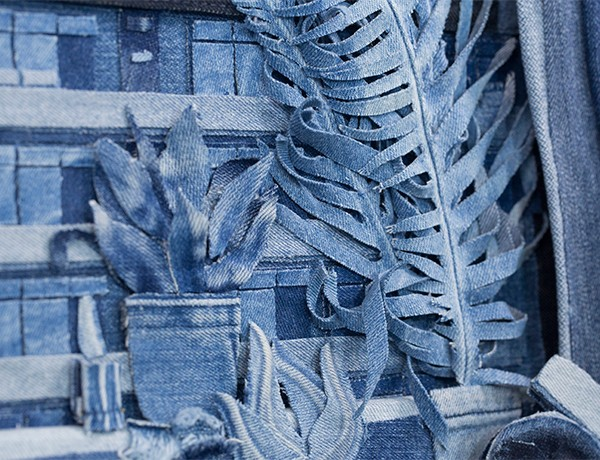 Detail of denim painting by Ian Berry