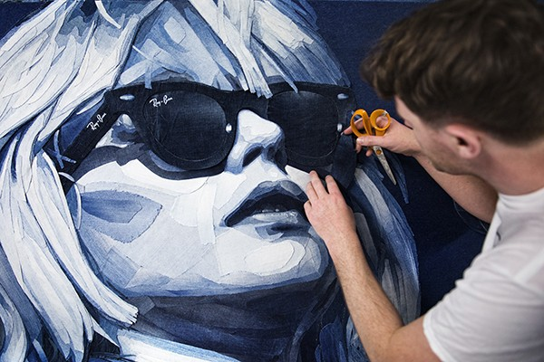 Portrait of Debbie Harry in recycled jeans by Ian Berry