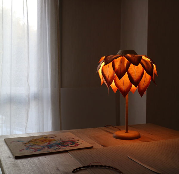 Desk lamp made from washi paper