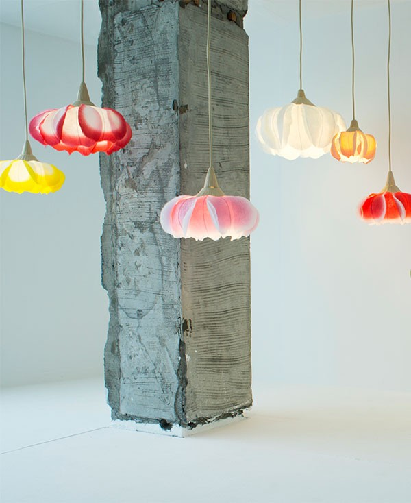 Flower lamps made from washi paper by Sachie Muramatsu